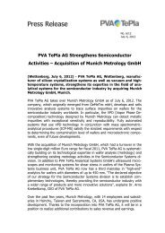 Acquisition of Munich Metrology GmbH - PVA TePla AG