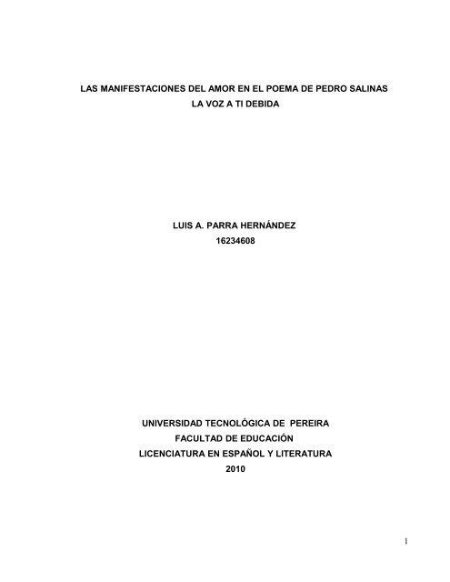 Las Manifestaciones Del Amor En El Poema De Pedro Salinas La