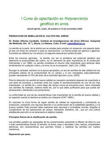 PRODUCCION DE SEMILLAS EN EL CULTIVO DEL ARROZ Dr ...