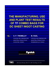 The Manufacturing, Use and Plant Test Results of TF ... - Pyrotek