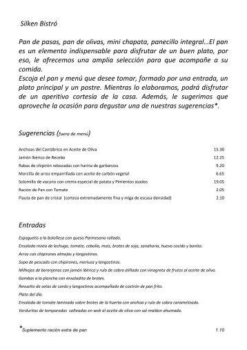 carta bistró 2012 - Hoteles SILKEN