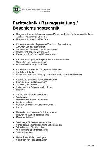 Farbtechnik / Raumgestaltung / Beschichtungstechnik