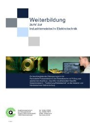 Info zur Industriemeister Weiterbildung Elektro 2014