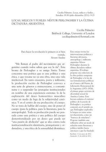 Néstor Perlongher y la última dictadura argentina - Estudios ...