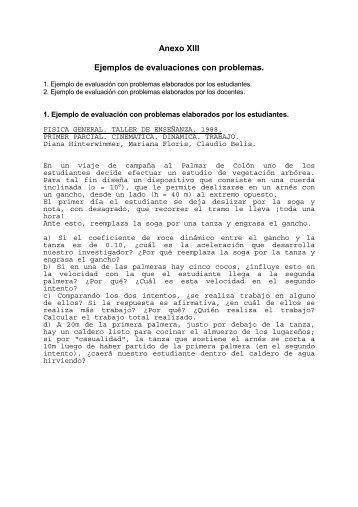 Anexo XIII Ejemplos de evaluaciones con problemas