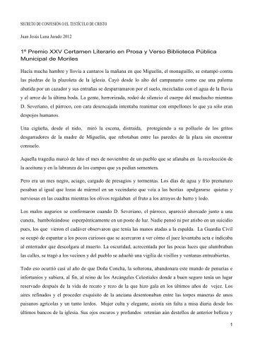 1º Premio XXV Certamen Literario en Prosa y Verso Biblioteca ...