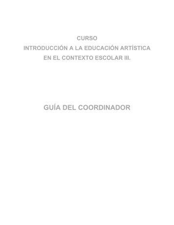 Introducción a la Educación Artística III - Guias de Estudio
