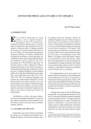conflictos por el agua en lorca y su comarca - Concejalía de Cultura ...