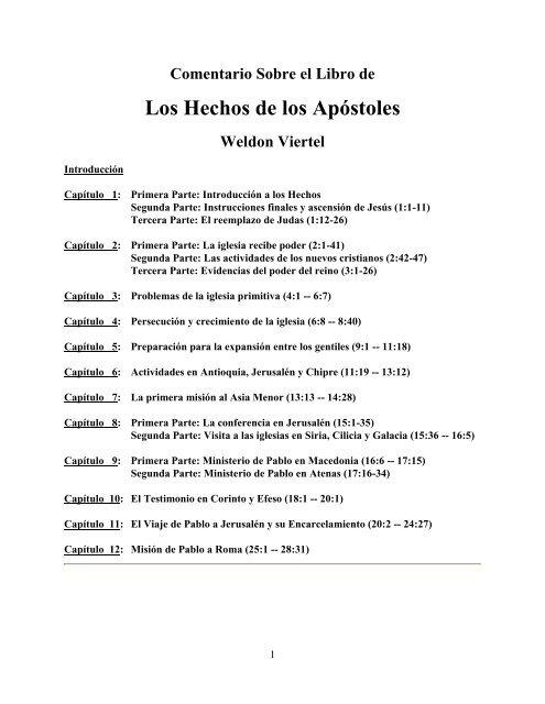 Comentarios De Hechos De Los Apostoles Pdf
