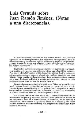 Luis Cernuda sobre Juan Ramón Jiménez. (Notas a una discrepancia).