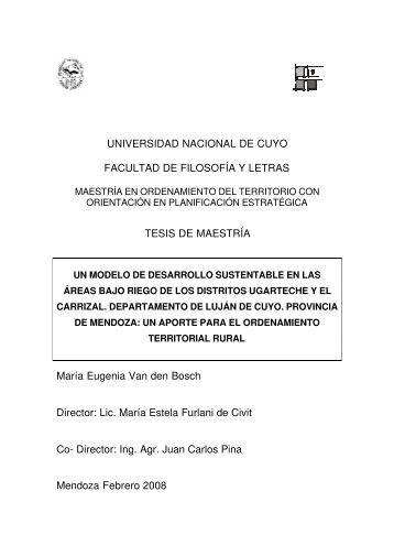 UNIVERSIDAD NACIONAL DE CUYO FACULTAD DE FILOSOFÍA Y ...