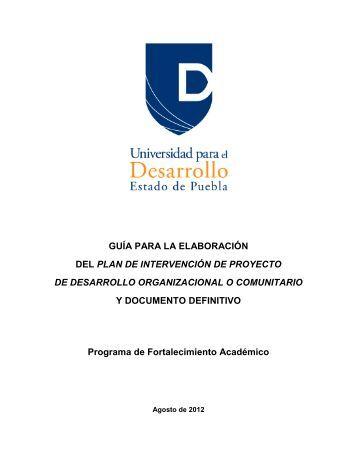Proyecto de Desarrollo Organizacional o Comunitario.