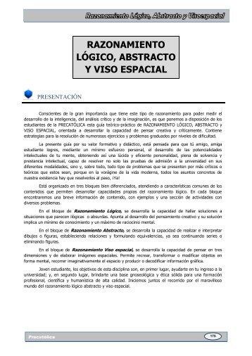 RAZONAMIENTO LÓGICO, ABSTRACTO Y VISO ESPACIAL