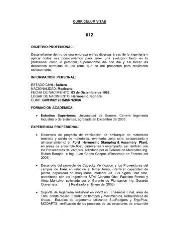 Curriculum Vitae Antonio Benlloch Garrido