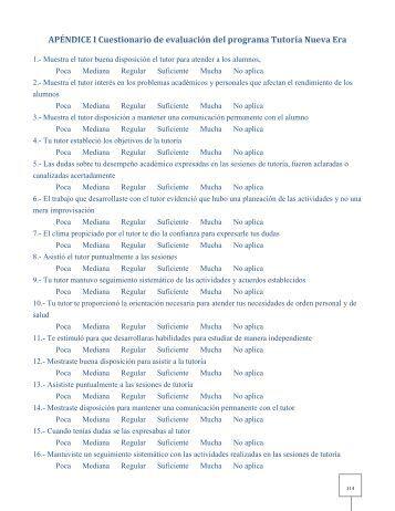 APÉNDICE I Cuestionario de evaluación del programa ... - UNAM