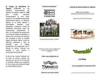 a tu Plantel - Colegio de Bachilleres de Tabasco
