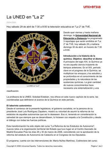 """La UNED en """"La 2"""" - Noticias - Universia"""