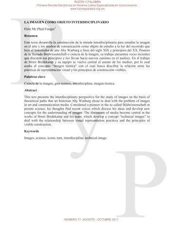 la imagen como objeto interdisciplinario - Razón y Palabra