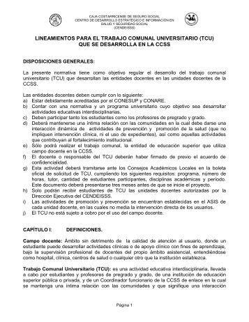 Lineamiento de Trabajo Comunal Universitario - CENDEISSS