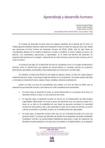 aprendizaje y desarrollo humano - Revista Iberoamericana de ...