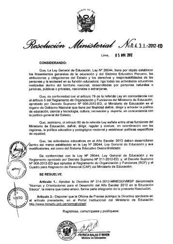 Directiva del Año Escolar 2013 - Ministerio de Educación