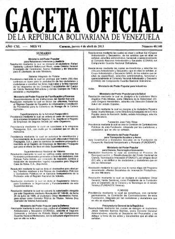 Gaceta Oficial Nº 40140 del 04 de abril de 2013 - Asamblea Nacional