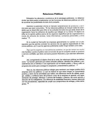 Relaciones Públicas Enlistados los elementos constitutivos de Ia ...