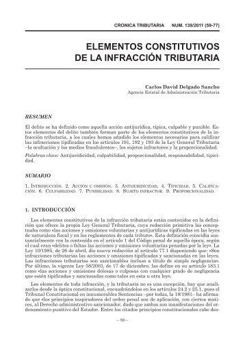 ELEMENTOS CONSTITUTIVOS DE LA INFRACCIÓN TRIBUTARIA