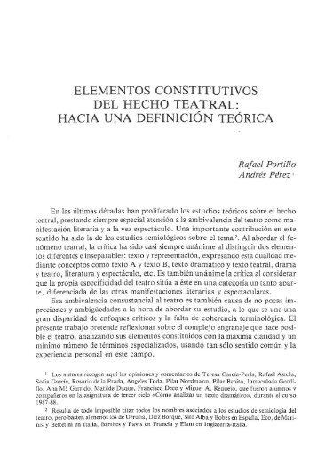 ELEMENTOS CONSTITUTIVOS DEL HECHO TEATRAL: HACIA ...