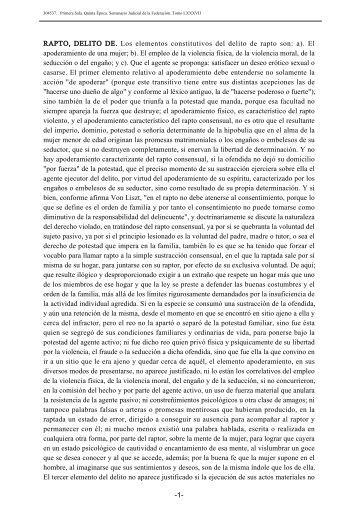 RAPTO, DELITO DE. Los elementos constitutivos del delito de rapto ...