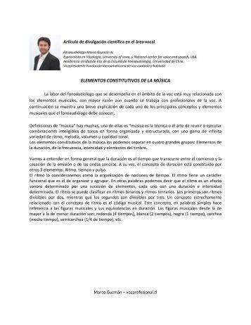 ELEMENTOS CONSTITUTIVOS DE LA MÚSICA - Voz Profesional