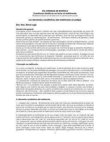 Los elementos constitutivos del matrimonio en peligro - Comisión de ...