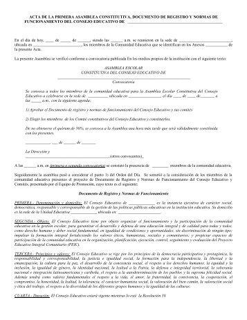 acta de la primera asamblea constitutiva, documento de registro y ...