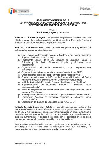 Reglamento General de la Ley Orgánica de la Economía Popular y ...