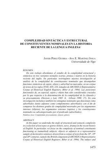Complejidad sintáctica y estructural de constituyentes nominales en ...