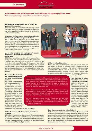 Interview mit MLP-Cup Gewinner Andreas Beck - Racket Center ...