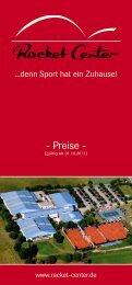 Preise Platzvermietung Badminton / Squash / Tennis