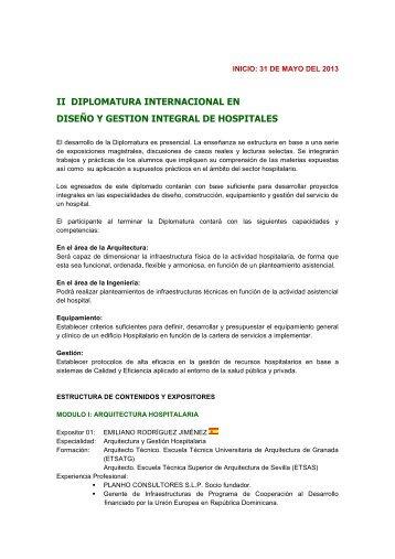 II DIPLOMATURA INTERNACIONAL EN DISEÑO Y GESTION INTEGRAL DE HOSPITALES