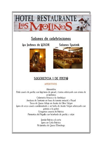 Salones de celebraciones - Hotelrestaurantelosmolinos.com