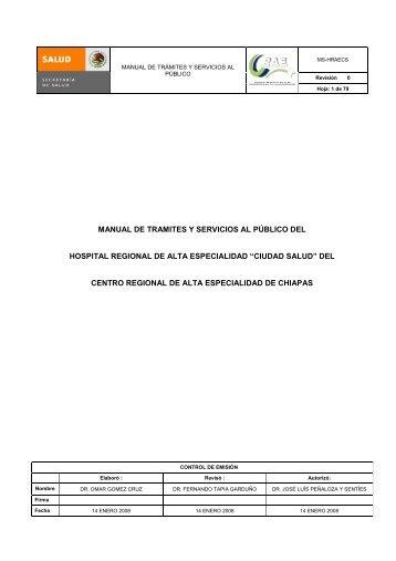 Manual de trámites y servicios al publico del Hospital Regional de ...