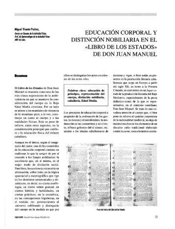 EDUCACIÓN CORPORAL Y DISTINCIÓN NOBILIARIA EN ... - apunts