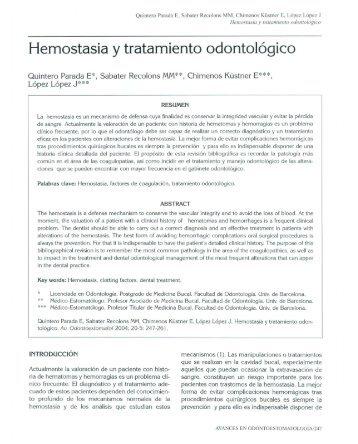 Hemostasia y tratamiento odontológico - SciELO España