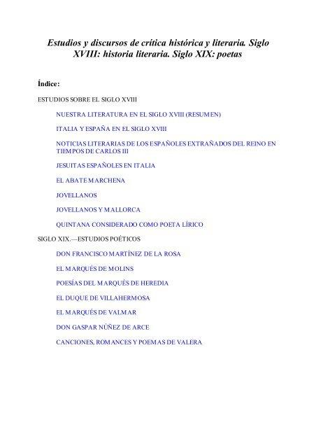 Estudios Y Discursos De Crítica Histórica Y Literaria Siglo