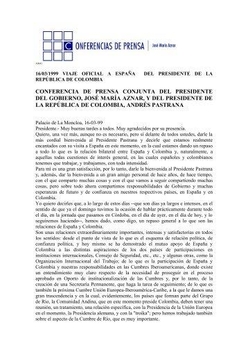 conferencia de prensa conjunta del presidente ... - José María Aznar