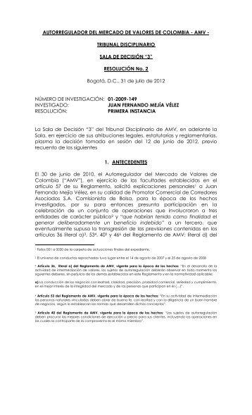 AUTORREGULADOR DEL MERCADO DE VALORES DE ... - AMV