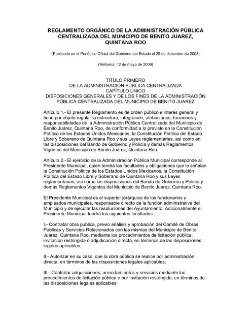 Reglamento Orgánico De La Administración Pública