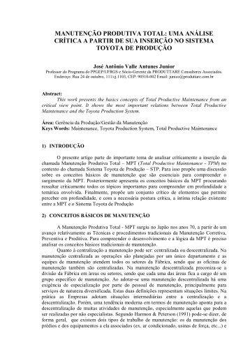 manutenção produtiva total: uma análise crítica a partir ... - ABEPRO