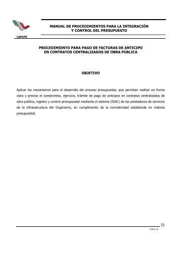 Pago de Facturas de Anticipo en Contratos Centralizados de Obra ...