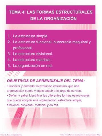tema 4 las formas estructurales de la organización - RUA