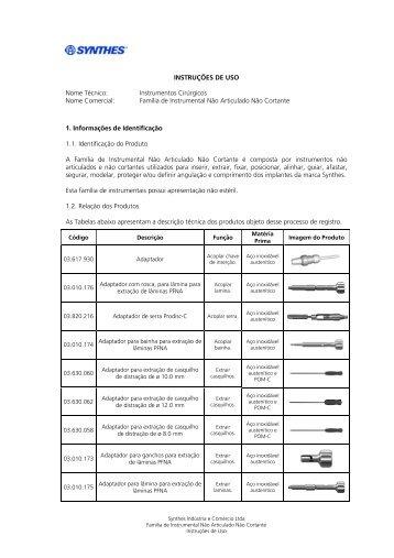 INSTRUÇÕES DE USO Nome Técnico: Instrumentos ... - Synthes
